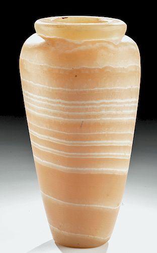 Large Egyptian Banded Alabaster Vase