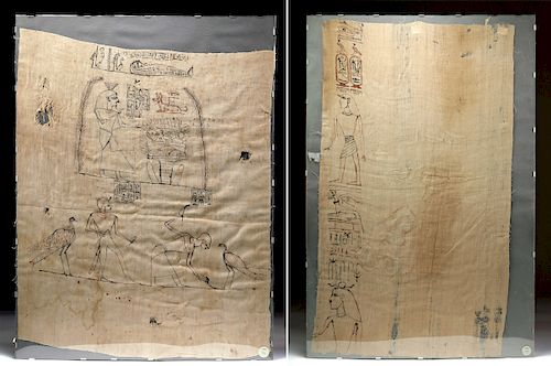 Two Egyptian Ptolemaic Embalming Linens, ex Sotheby's