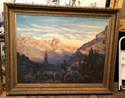 Large 19th Century Swiss School O/C Landscape with Church and Village