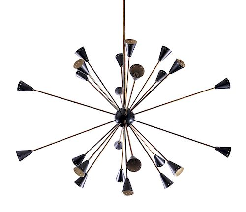 Stilnovo Attrib. Modern Black Sputnik Chandelier