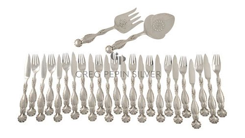 NEW Georg Jensen Fish Service 55 For Twelve With Matching Serving Set
