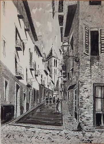20th c. European School pen and ink and wash