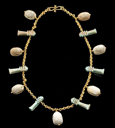 21K Gold Necklace w/ Egyptian Scarabs, Djed Pillars