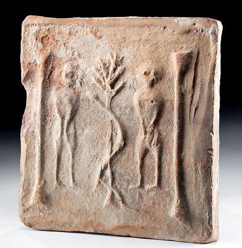 5th C. Carthage Terracotta Tile, Adam & Eve, Export Doc