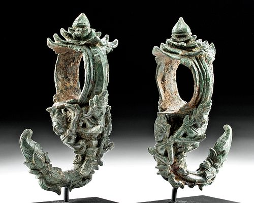 Fine Figural Pair of Khmer Bronze Palanquin Hooks