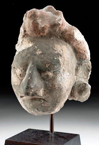 Near Life-Size Maya Stucco Portrait Head of a Dignitary