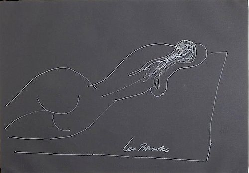 Leo Brooks white ink on construction paper
