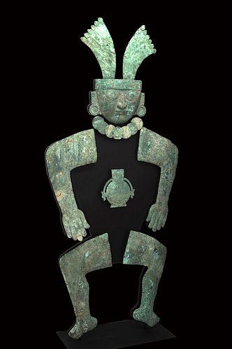 Monumental Moche Silver / Copper Guardian Figure