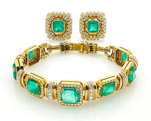 DAVID WEBB 18K PLATINUM COLOMBIAN EMERALD DIAMONDS SET  BRACELET AND EARRINGS
