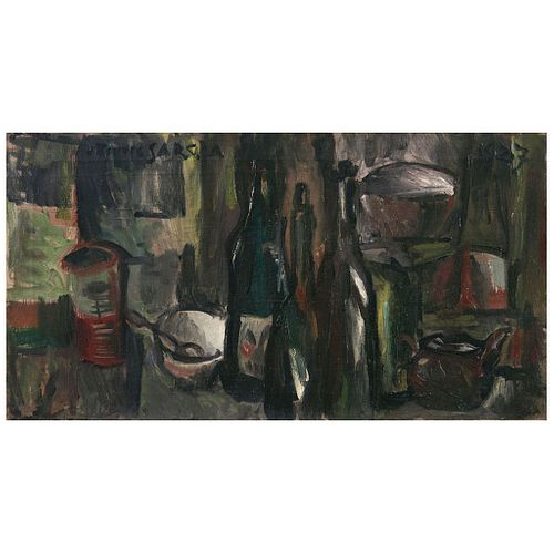 "JOAQUÍN TORRES-GARCÍA, Bodegón (""Still Life""), Signed and dated 1927, Oil on canvas, 14.9 x 28"" (38 x 71.5 cm)"