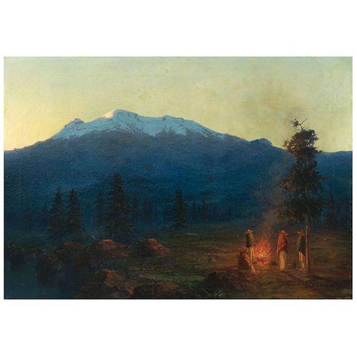 """GUILLERMO GÓMEZ MAYORGA, Fogata en el Iztaccíhuatl (""""Fire on the Iztaccíhuatl""""), Signed, Oil on canvas, 27 x 39"""" (68.5 x 99 cm)"""