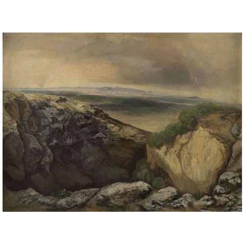 "LUIS NISHIZAWA, Barranca de San Andrés (""Canyon of San Andrés""), Signed and dated 58, Oil on canvas on wood, 36.2 x 48"" (92 x 122 cm)"