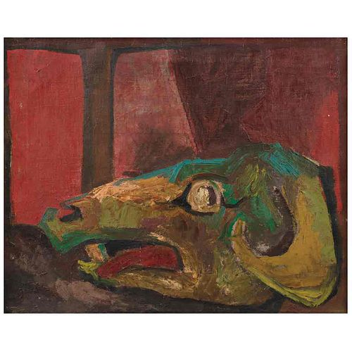 """PEDRO CORONEL, Cráneo #1 (""""Skull #1""""), Signed & dated 1956 México on the back, Oil on canvas, 19.2 x 24"""" (49 x 61 cm)"""