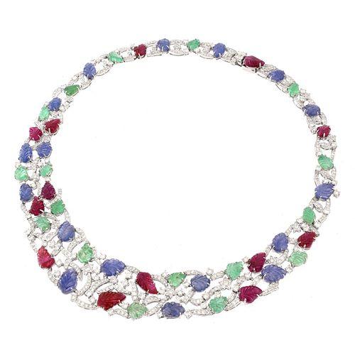 Multi Gemstone, Diamond and 18K Necklace