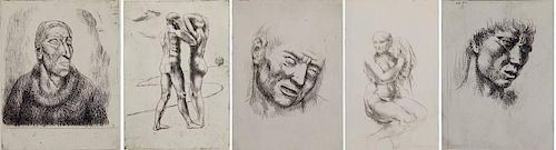 Kenneth Hayes Miller 5 etchings