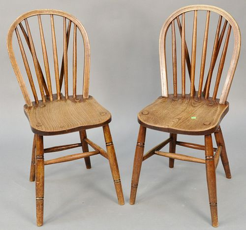 Set of six English Windsor side chairs with brace backs. ht. 35 in., seat ht. 18 in. Provenance: Former home of Mel Gibson, Old Mill Rd, Greenwich, CT
