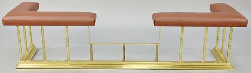 Brass fire rail with leather cushion top. ht. 18 in., wd. 73 in. Provenance: Estate of William and Teresa Patton, Lake Ave Greenwich, CT