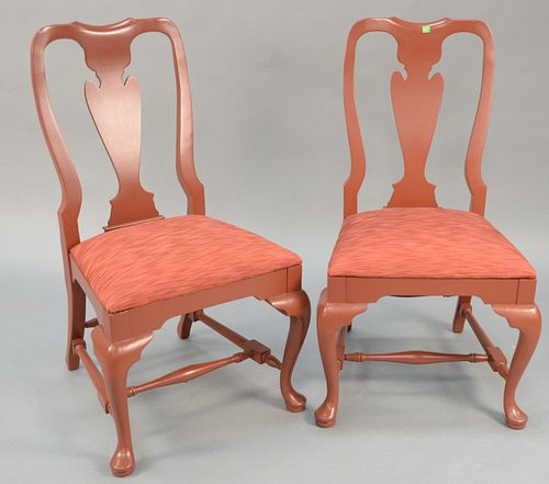 Set of eight Queen Anne style dining side chairs all painted red. ht. 38 1/2 in. Provenance: Estate of William and Teresa Patton, Lake Ave Greenwich,
