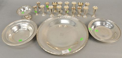 Sterling silver group to include two sets of cordials, large round platter and two bowls. 47.5 t.oz.