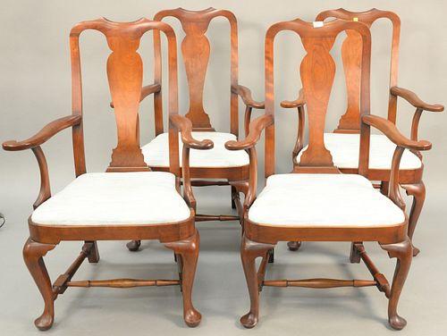 Set of four Eldred Wheeler Queen Anne cherry arm chairs.