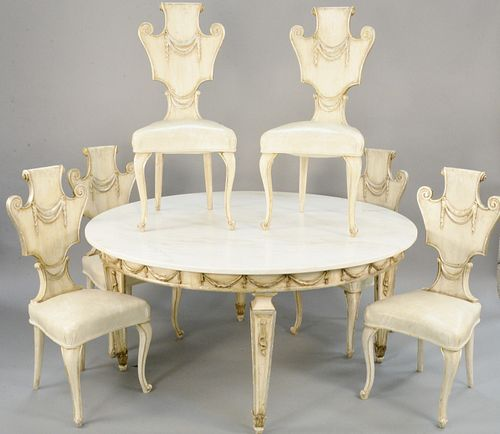 Seven piece lot to include Neoclassical style dining table with round marble top and six Louis XV style side chairs with leather seats, all with white