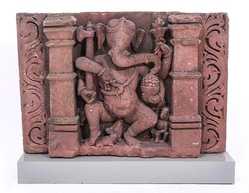 Indian Carved Sandstone Ganesha Stele, 10-12th C.