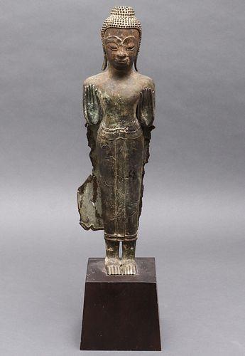 Thai Bronze Figure Of Standing Gautama Buddha