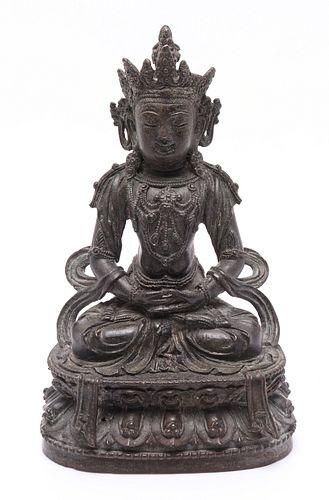 Chinese Bronze Figure Of Amitayus