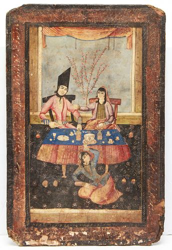 Persian Two-Sided Painting Gilt & Tempera, Antique