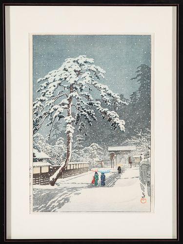 Hasui Honmon Temple, Ikegami Japanese Woodblock
