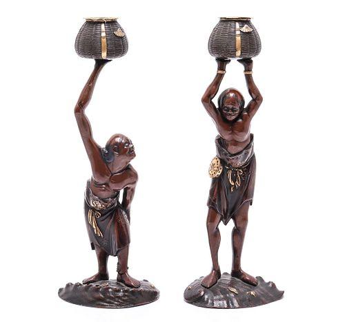 Japanese Meiji Period Bronze Figural Candlesticks