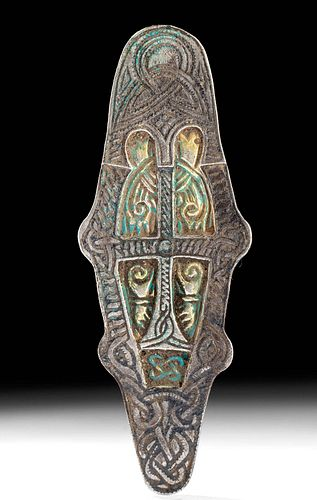 Viking Gilt Silver Buckle w/ Cross & Triquetra - 22.3 g