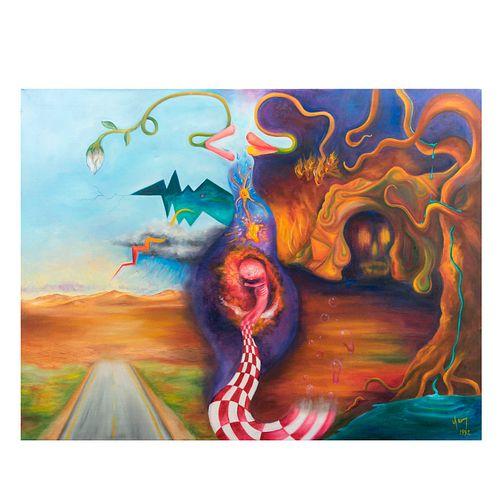 """Alfonso Yáñez. """"Un beso hecho flor o un beso hecho fuego. Firmado y fechado 1992. Óleo sobre tela. 81 x 106 cm"""