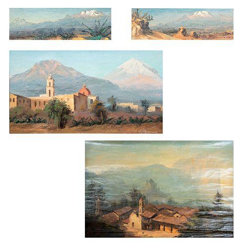 EDUARDO VILLANUEVA, Vistas de paisajes, Firmados y fechados, Óleos sobre tela y fibracel, 58 x 90 cm (mayor), Piezas: 4