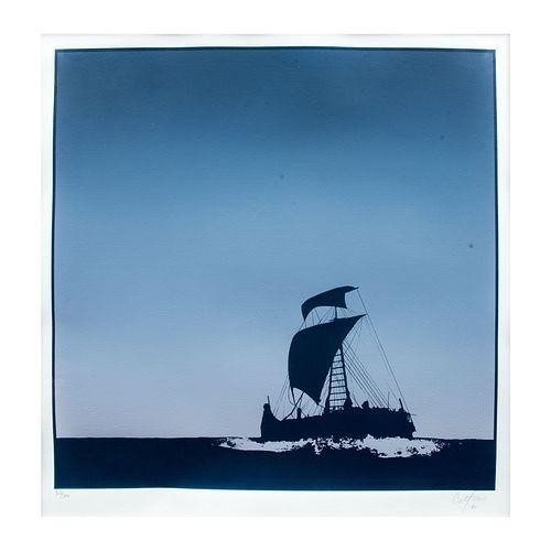 ENRIQUE CATTANEO, Marina, Firmada y fechada 85, Serigrafía 37 / 50, Enmarcada, 41 x 41 cm