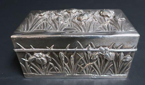 Japanese Art Nouveau Silver Box, Yokohama