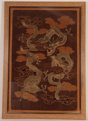 Japanese Triple Dragon Silk Tapestry