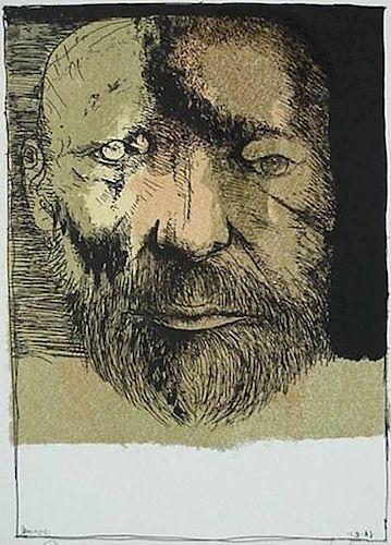 Leonard Baskin lithograph