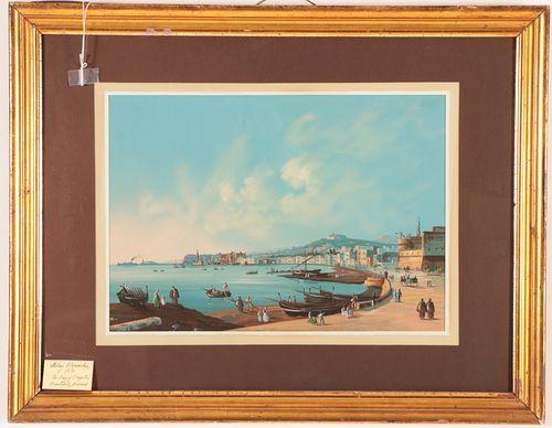 Italian Gouache on Paper - 'Bay of Naples'