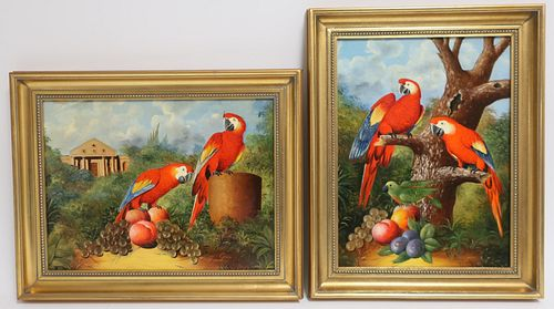 Giui: Two Similar Paintings of Parrots, O/B