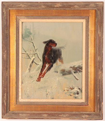 Painting of a Gordon Setter, O/B