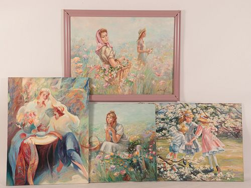 Large Paintings of Young Women in Floral Settings