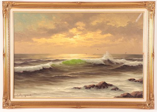 Traditional Surfscape With Backlit Wave, O/C