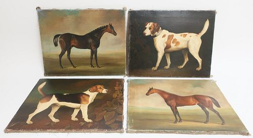 Group of 4 Antique Style Oil Paintings