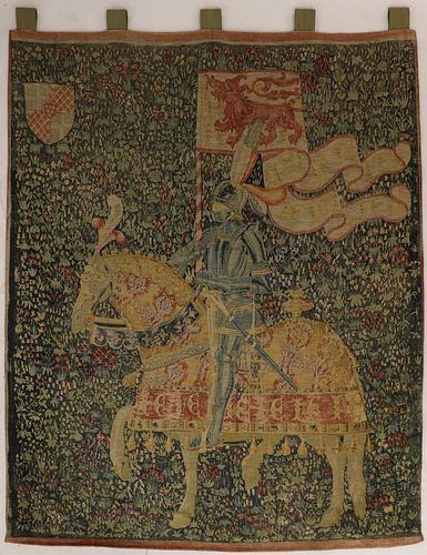 Knight at Monacute Tapestry, serigraph on fabric