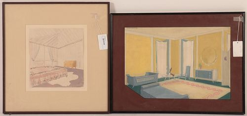 Andre Arbus, 1903-1969, two watercolors on paper