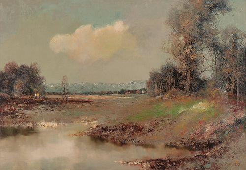 Willi Bauer - Landscape with Pond