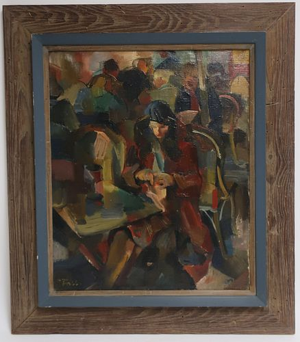 Oliver Foss, 1920-2002, Café Scene O/C