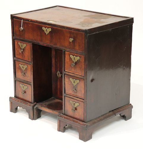 George II Oak & Walnut Kneehole Desk