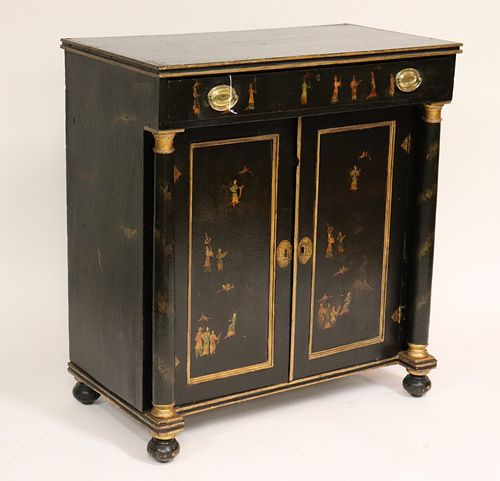 Regency Parcel Gilt Japanned Cabinet, E 19th C
